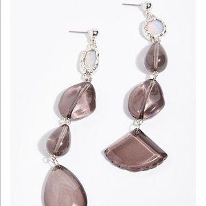 Free people crystal clear asymmetrical earring